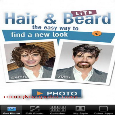 Rambut Terbaru dengan iPhone Aplikasi Foto Hair Beard Lite_A