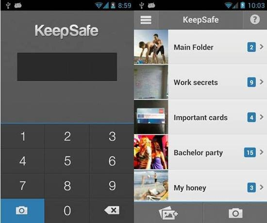 Sembunyikan foto video Android keepSafe Vault_A